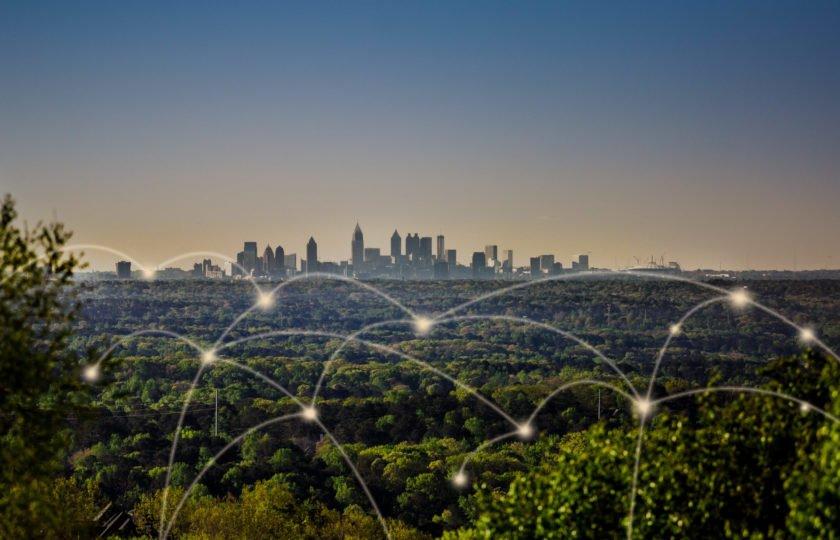 Light beams portray a metro Atlanta connected through technology