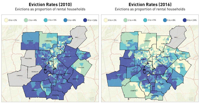 Metro Atlanta Eviction Rates in 2010 & 2016