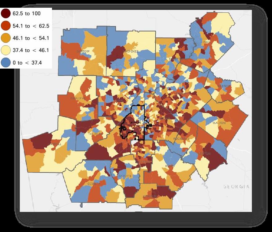 map of cost-burdened areas around metro Atlanta