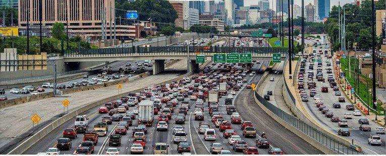 Traffic on I-75 in downtown Atlanta